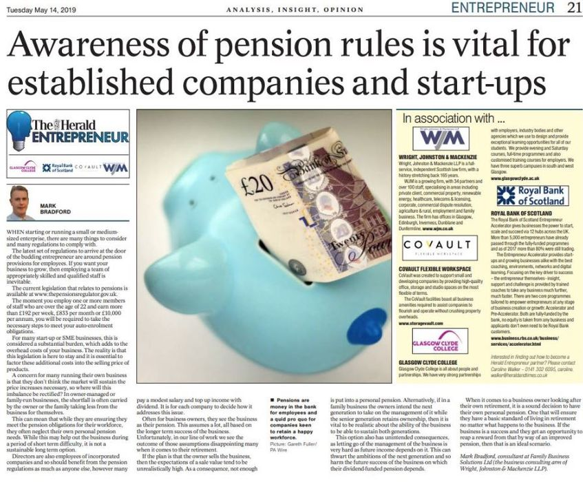 Awareness of Pension Rules Vital for Companies